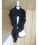 $68 Lauren Ralph Lauren Women's Rib Knit Ruffle Scarf, black/ striped,  ... - $26.73