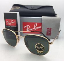 New RAN-BAN Sunglasses HEXAGONAL RB 3548-N 001 48-21 140 Gold Frame w/ G15 Green image 11