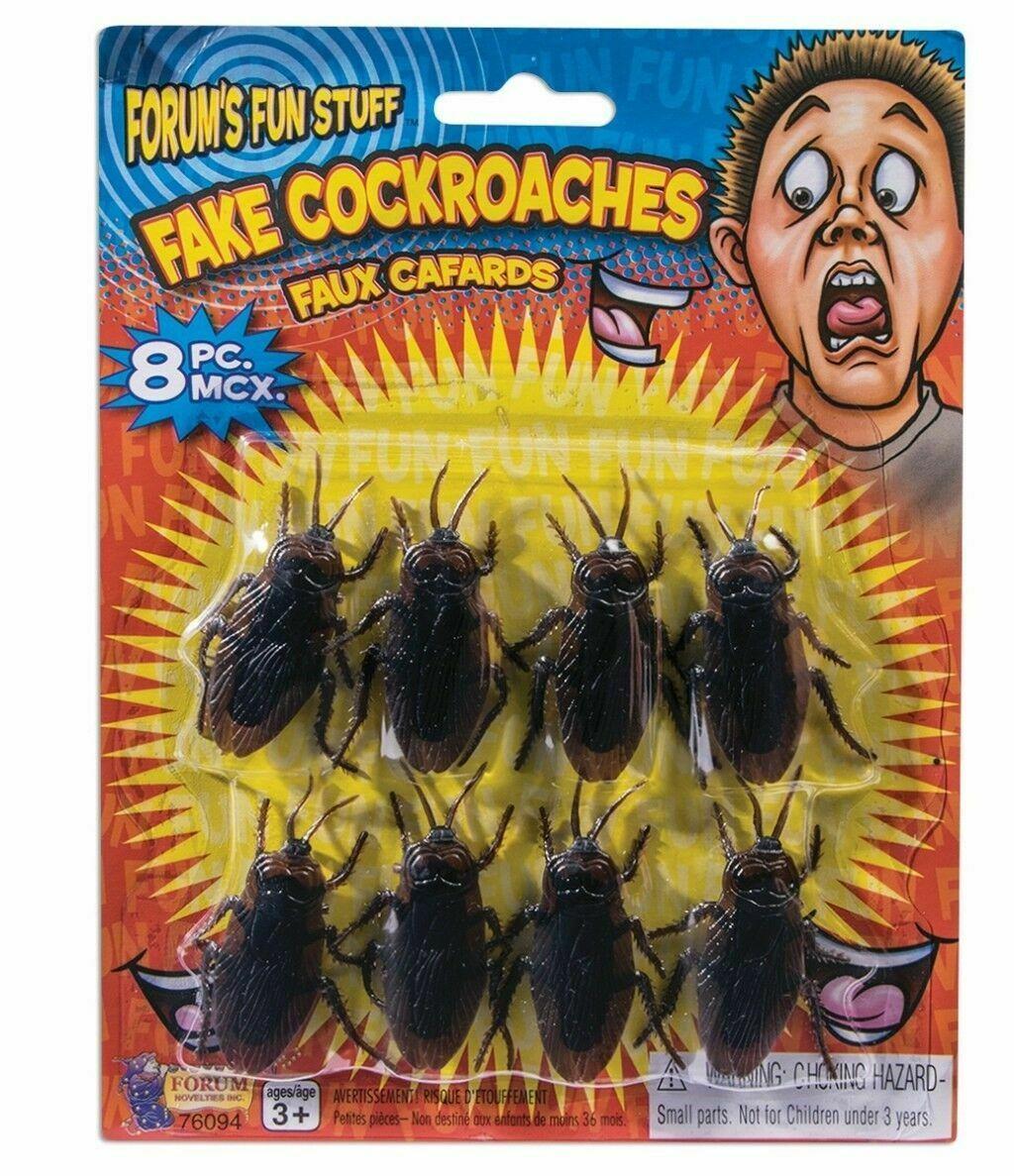 8 pc Fake Cockroaches Roach Bugs Scaring Prank Gross Halloween Trick Joke Prop