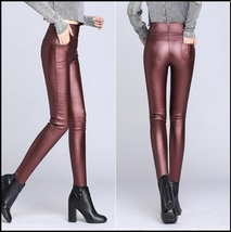 Red Wine Stretch Faux Leather High Waisted Button Up Skinny Pencil Trousers  image 2