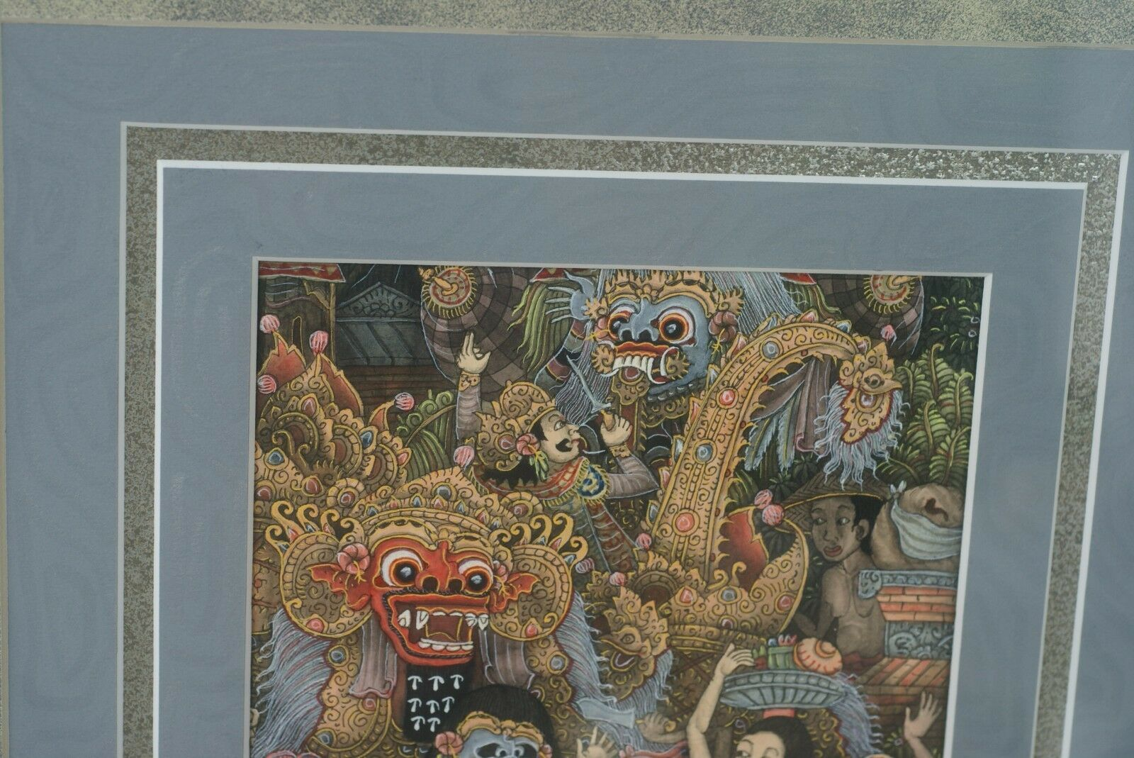 ORIGINAL DETAILED FRAMED MINIATURE TRADITIONAL BALINESE UBUD ART INK PAINTING -