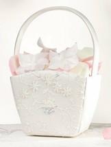Beaded Ivory Sequin Lace Wedding Flower Girl Basket Ceremony Floral Satin Gift - $18.98