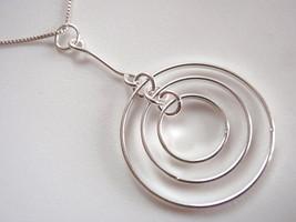 Triple Hanging Circles Pendant 925 Sterling Silver Corona Sun Jewelry - $12.86