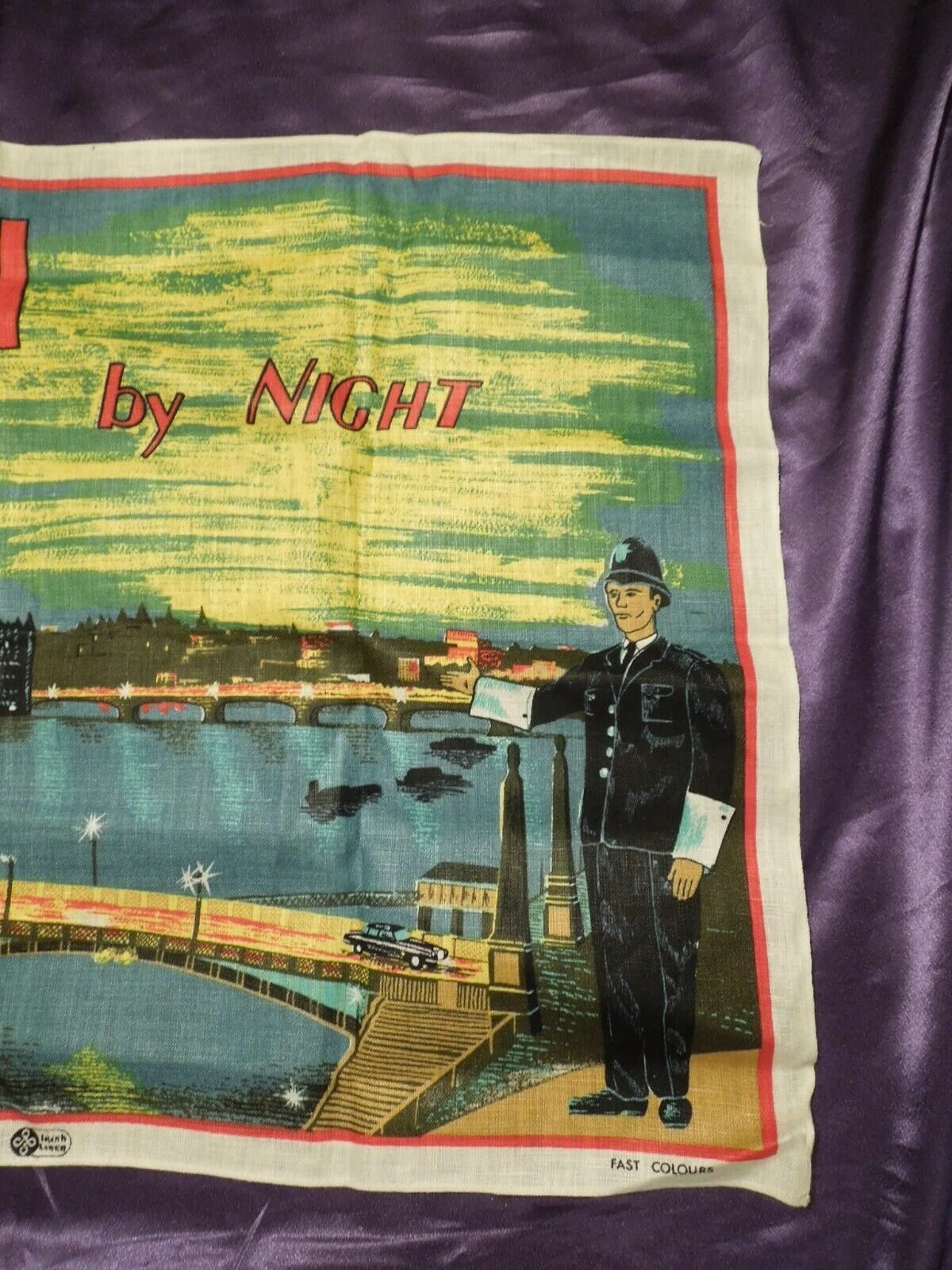 Vintage London by Night by Blackstaff Pure Irish Linen Towel Art image 4