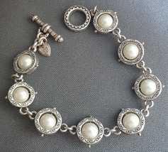 """Retired Brighton Bracelet Faux Pearls inside Scrollwork Rings 7.75"""" Toggle Clasp - $29.99"""