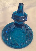 Apothecary Jar *LID ONLY*  Dark Turquoise Blue Diamond Point Waffle Glass - $9.99