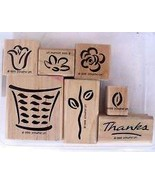 Stampin' Up Basket of Blossoms Stamp Set of 7 wood mounted rubber stamps - $35.00