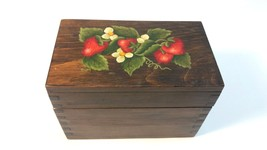 Vintage Country Kitchen Hand Painted Strawberries Recipe Box with Brass ... - $24.74