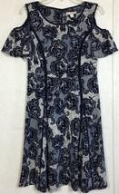 Dressbarn Floral Cold Shoulder Dress Navy Blue Lace Print Flutter Sleeve... - $9.99