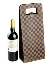 Yunko 2 Bottle Upscale Leather Wine Bottle Protector Wine Tote Carrier B... - $18.24