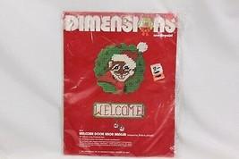 Dimensions Xmas Plastic Canvas 9033 Welcome Door Knob Hanger 1982 - $21.07