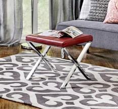 Sleek Modern Faux Leather Chrome Footstool Ottoman Side Table Furniture ... - €103,20 EUR+