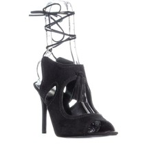 Nine West Maisie Cut Out Lace Up Dress Sandals, Black, 9.5 US - $41.27