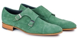 Handmade Men's Green Suede Leather Double Monk Strap Shoes image 2
