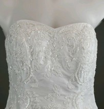 Davids Bridal Wedding Dress T9252 White & gloves sz 8 strapless ruching ... - $247.50