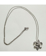 """Fleur De Lis Necklace + 18"""" Chain 925 FAS Silver Sparkles Mardi Gras New... - $55.00"""