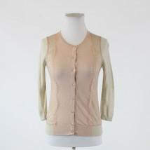Light beige pink color block ANN TAYLOR LOFT lace trim cardigan sweater PXS - $19.99