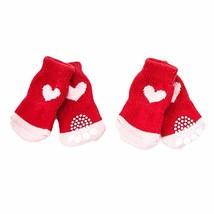 PANDA SUPERSTORE 4 Pcs Red Hearts Dog Knitted Pet Socks Cartoon Cute Puppy Cat S