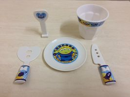 Disney Green Alien Dish, Fork, Glass. Kitchen Mini Set. Rare - $13.00
