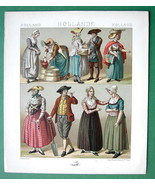 HOLLAND Costume Fisherman Zeelander - 1888 COLOR Antique Print A. Racinet - $9.79