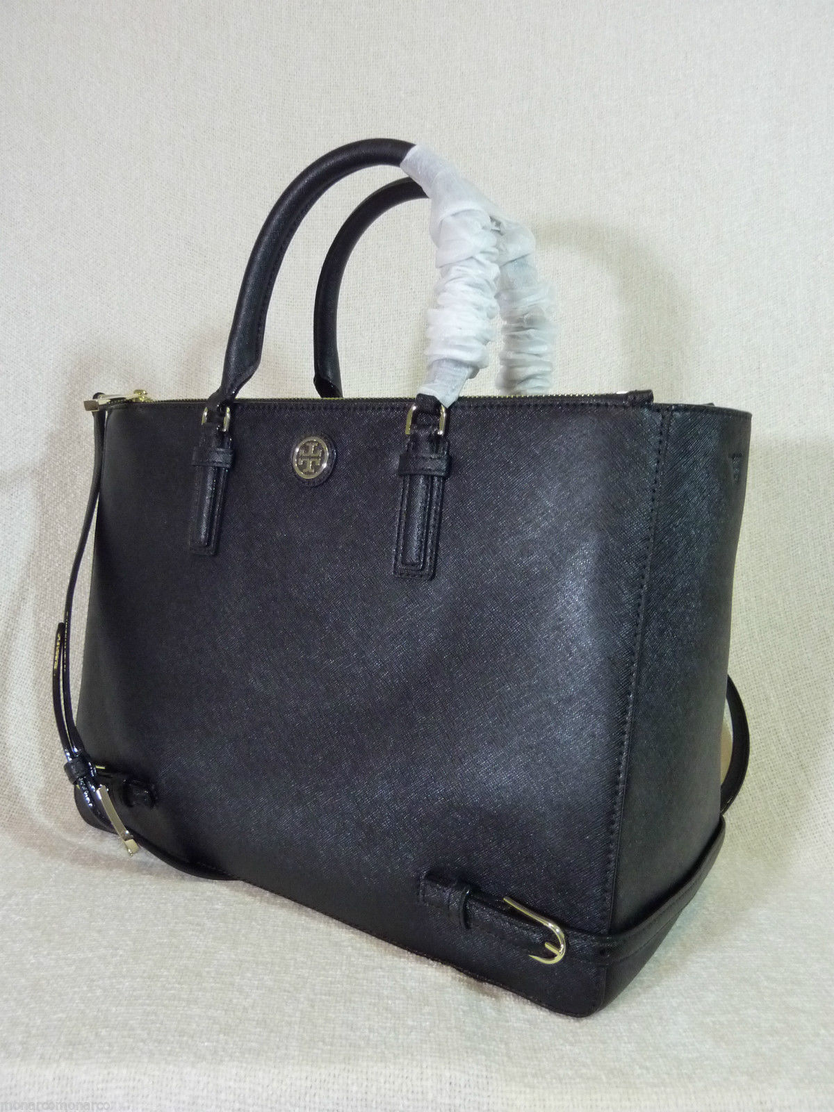 NWT Tory Burch Black Saffiano Leather Large Robinson Multi Tote + Wallet