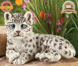 Snow Leopard Sculpture Outdoor Garden Statue Animal Decoration Garden Ho... - $38.68