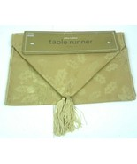 Martha Stewart Collection Table Runner Gold with Holly leaves 14 x 70 In... - $18.54