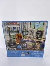 SunsOut Lets Get Started Puzzle 500 pc Kitten Sewing Fabric By Giordano ... - $14.95