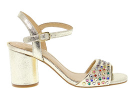 Heeled sandal GUESS FLLOR1 in gold leather - Women's Shoes - $81.51