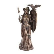 10 Inch Bronze Colored Athena Figurine Holding Shield with Owl - $49.49