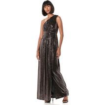 Calvin Klein Women's One Shoulder Gown  Shirred Bodice, Black/Copper, 6 - $24.75
