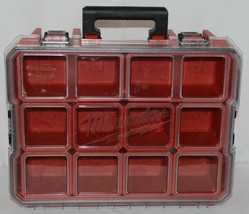 Milwaukee 48228030 Job Site Organizer Weather Seal 10 Bins Red Clear Lid Box image 1