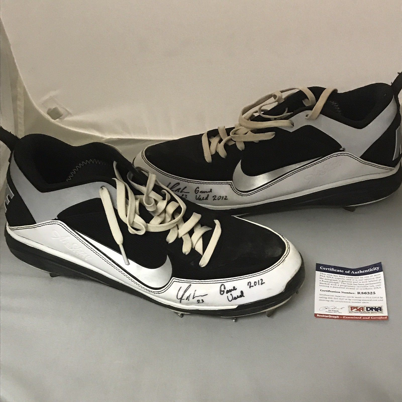 Autographed/Signed YONDER ALONSO 2012 Game Used Pair Cleats Shoes PSA/DNA COA