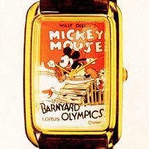 Mickey Barnyard Olympic Poster Watch Seiko Lorus GoldTone Rectangular RM... - $97.86