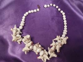 Vintage Beaded Flock of White Doves Choker Necklace - $44.55
