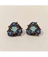 Flower Earrings Blue Green Purple Rhinestones Brass Tone Floral Post Pie... - $32.00