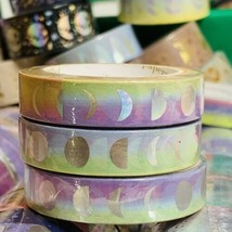 SEALED Papergeek SOLDOUT ONE ROLL RAINBOW MOON PHASE FOIL Washi Tape 33' image 2