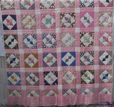 "Vintage Fabric Quilt Star Pattern 68"" x 82"" Hand Quilted - $144.40"