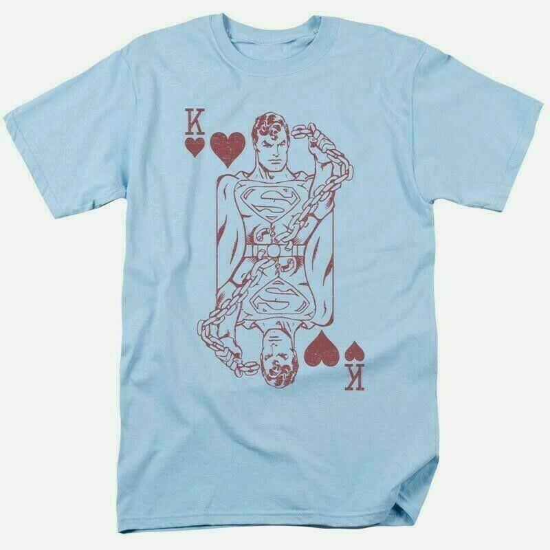 Superman t shirt poker dc comic book batman superhero cotton blue tee dco803