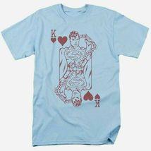 Superman t shirt poker dc comic book batman superhero cotton blue tee dco803 thumb200