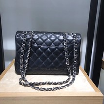 AUTHENTIC CHANEL BLACK CAVIAR QUILTED JUMBO CLASSIC FLAP BAG SILVER HARDWARE image 2