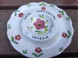 "Vintage HOTEL CONTINENTAL Venezia Floral Porcelain China Ashtray 4.25"" - $14.80"