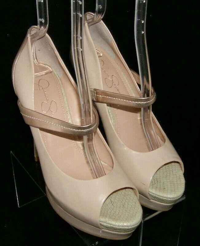 Jessica Simpson 'Elys' nude man made mary jane peep toe platform heels 9B