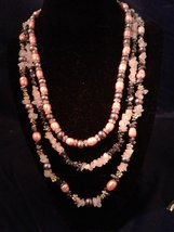 "17"" Handmade Graduated Garnet Beaded Necklace Z164 - $100.00"