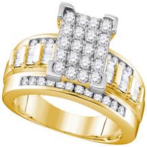 10k Yellow Gold Diamond Rectangle Cluster Bridal Wedding Engagement Ring... - $809.00