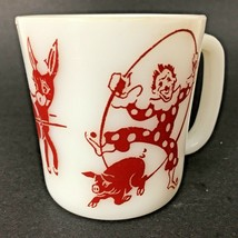 Hazel Atlas Circus Clown Mug Child's Red White Milk Glass Cup Pig Donkey Vintage - $9.85