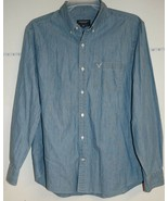 Men's AEO Size XL Blue Denim Chambray Long Sleeve Button Down Athletic F... - $6.29