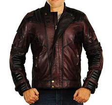Guardians Galaxy Vol 2 Star Lord Chris Biker Peter Quill Maroon Leather Jacket image 1