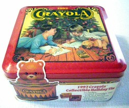1992 Crayola Collectible Christmas Holiday Tin 64-ct w/ornament Factory Sealed - $14.47