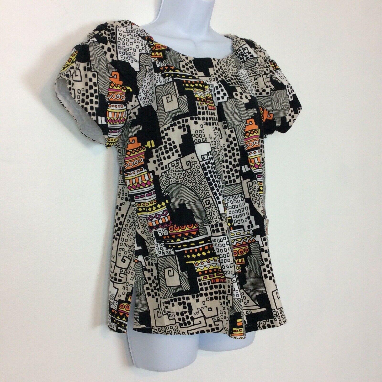 c612e139bf8 Koi by Kathy Peterson Scrub Top Size Medium Black White Orange Abstract